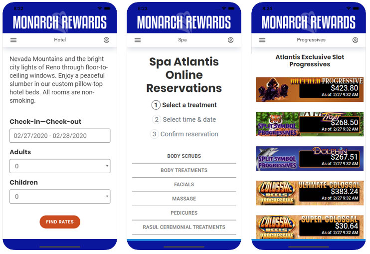App screens showing hotel reservations spa appointment and progressives pages within the app