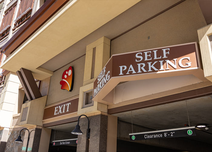 Self parking entrance at Monarch Casino