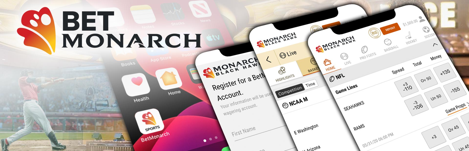 BetMonarch Sports App Screens